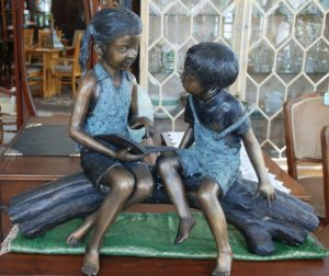 bronze children,garden statuary