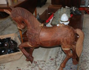 wooden hand carved horse, carrousel horse