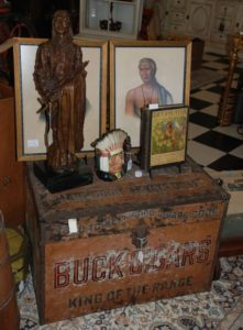 american indian collectibles, antique cigar humidor, bronze indian statue