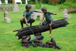bronze children fishing, garden statuary, bronze fish
