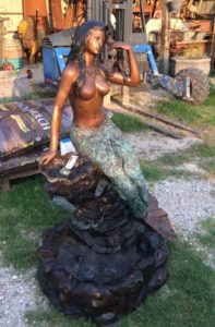 bronze mermaid statue, nautical statue